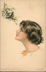 Profile of Woman watching a Bird Sitting on a Branch