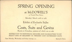 Spring Opening at McDowell's, 59 Temple Place, Boston