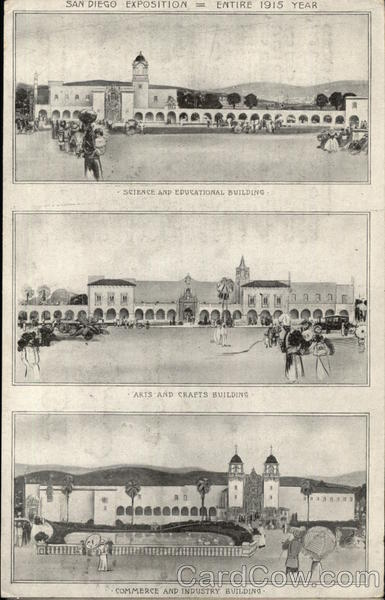 Views of 3 Buildings of the San Diego Exposition, 1915 California