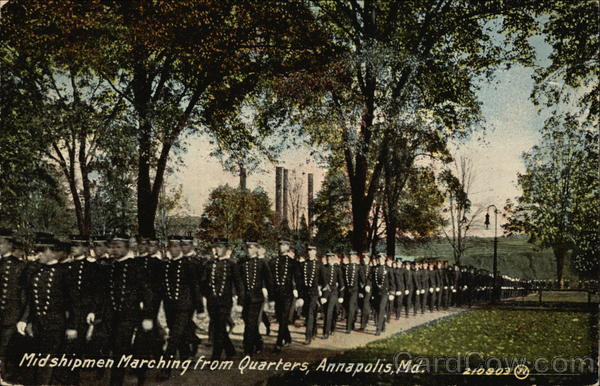 Midshipmen Marching from Quarters Annapolis Maryland