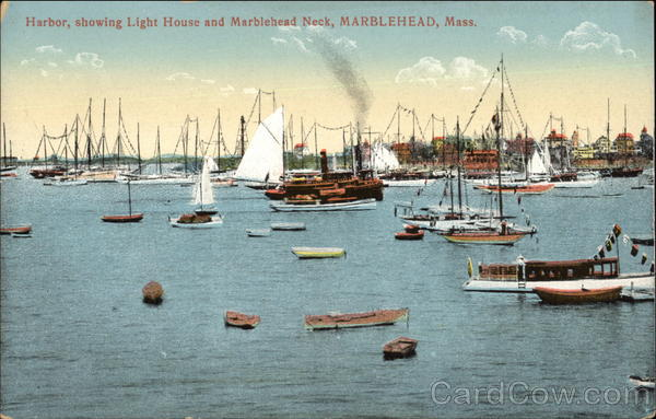 Harbour showing Light House and Marblehead Neck Massachusetts