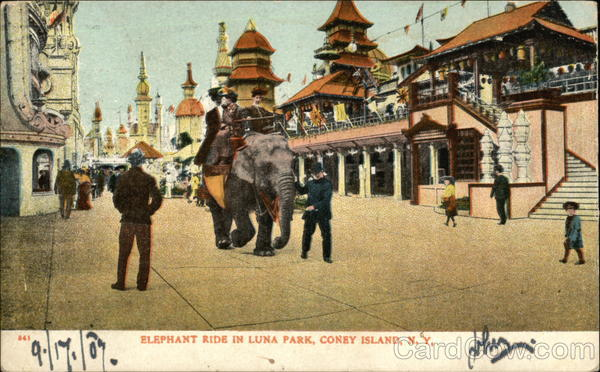Elephant Ride in Luna Park Coney Island New York