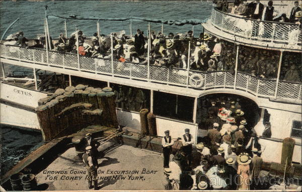 Crowds Going On Excursioin Boat for Coney Island New York