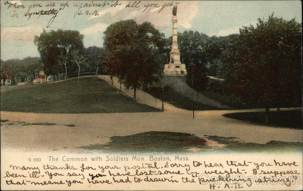 The Common with Soldiers Monument Boston Massachusetts