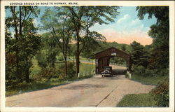 Covered Bridge on Road through Scenic Area