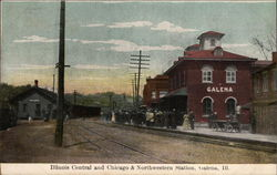 Illinois Centran and Chicago & Northwestern Station Postcard