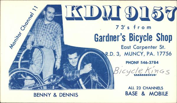 KDM 9157 - 73s from Gardner's Bicycle Shop QSL & Ham Radio