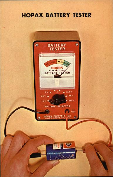 Hopax Battery Tester Willow Grove Pennsylvania Advertising