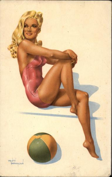 Blonde in Pink Swimwear Swimsuits & Pinup