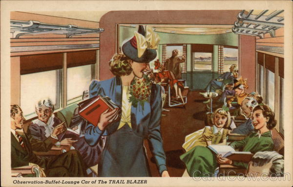 Observation-Buffet-Lounge Car of The Trail Blazer Trains, Railroad