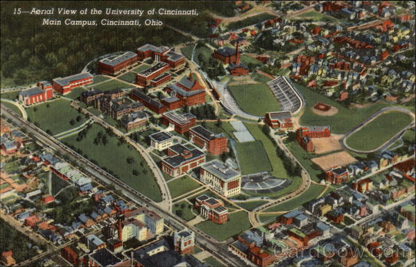 Aerial View of the University of Cincinnati, Main Campus Ohio