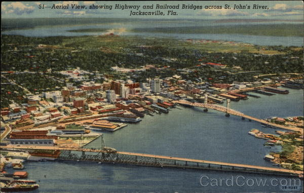 Aerial View, Showing Highway and Railroad Bridges across St. John's River Jacksonville Florida
