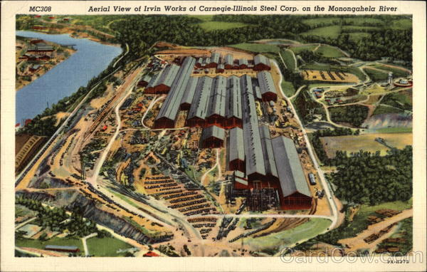 Aerial View of Irvin Works of Carnegie-Illinois Steel Corp on the Monongahela River Clairion Pennsylvania