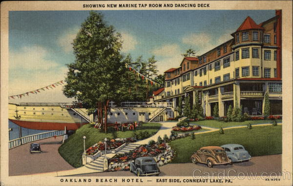 Oakland Beach Hotel - Showing New Marine Tap Room and Dancing Deck - East Side, Conneaut Lake, PA Pennsylvania