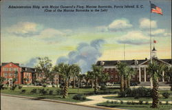Administration Bldg. with Major General's Flag, Marine Barracks, Parris Island, S.C