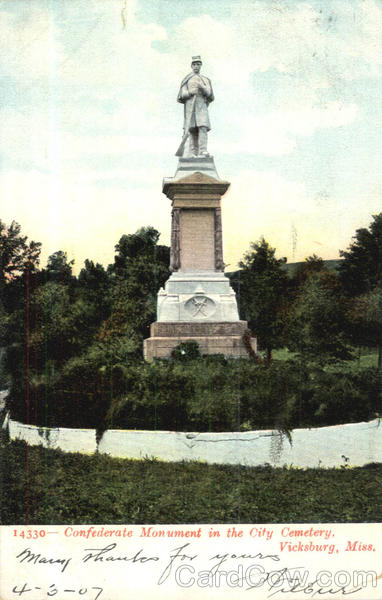 Confederate Monument In The City Cemetery Vicksburg Mississippi