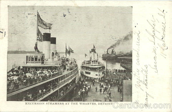 Excursion Steamers At The Wharves Detroit Michigan