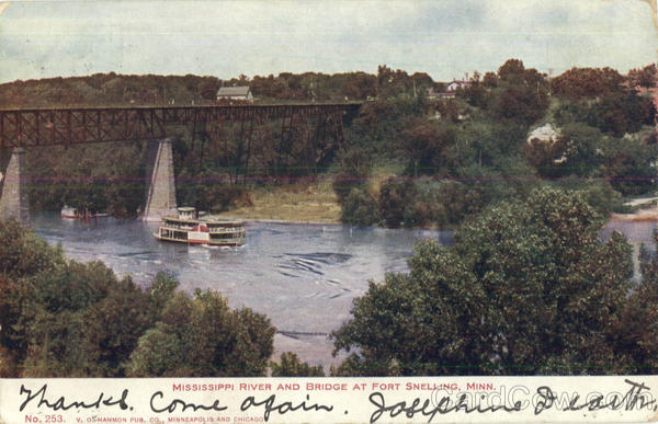 Mississippi River And Bridge At Fort Snelling Minnesota