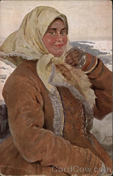 Woman in the winter outfit Russia