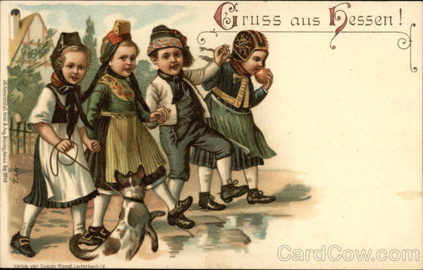 Four German Children with Dog Hessen Germany