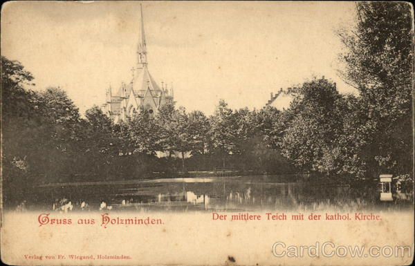 Catholic Church and Pond View, Holzminden Germany