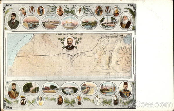 Map and Views of Suez Canal Egypt Africa