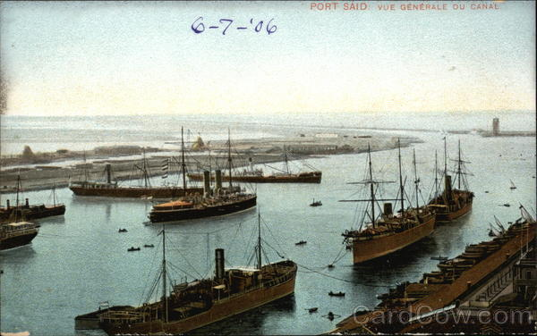 Canal and Ships Port Said Egypt Africa