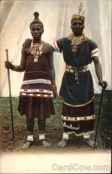 African Man and Woman in Tribal Dress