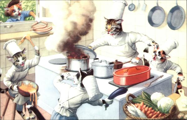 Cat's as Cooks in Kitchen Cats