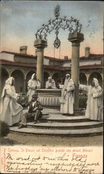 Florence Charterhouse - Well in the Larg Cloister with Monks