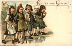 Four German Children with Dog