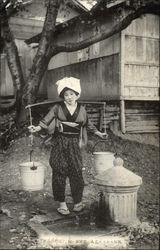 Japanese Girl Carrying Water Buckets