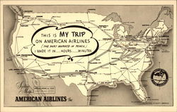 American Airlines Route Map Postcard