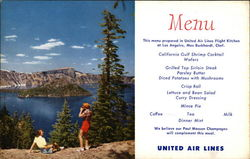 View of Crater Lake - United Air Lines Menu