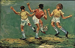 Painting of Kids Playing Soccer