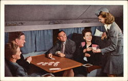 United Air Lines Stewardess Serving Passengers
