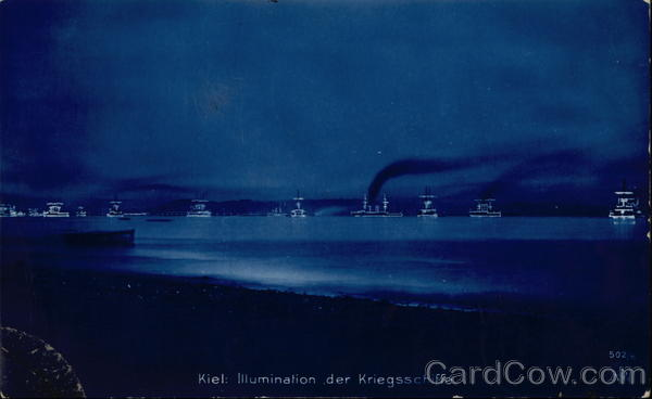 Illumination der Kriegsschiffe Kiel Germany Cyanotypes