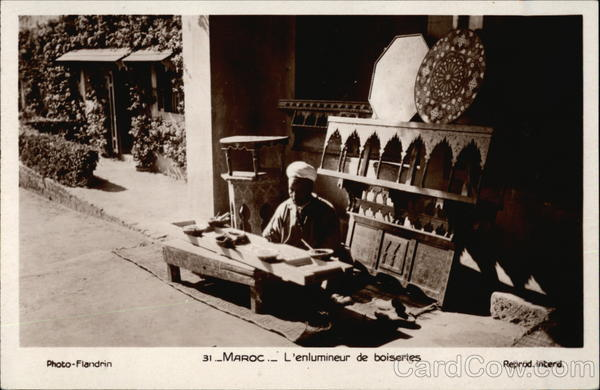 Man Embellishing Custom Woodwork in Morocco