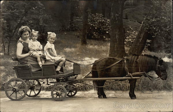 Pony Pulling Cart with Woman & Little Girls Horse-Drawn