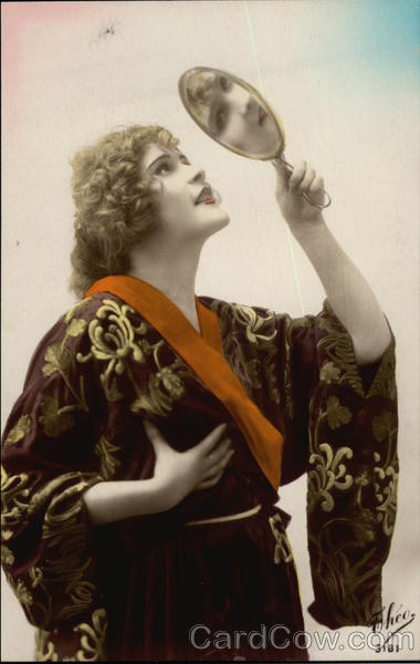 Blonde Woman wearing Robe, Gazing into Hand Mirror