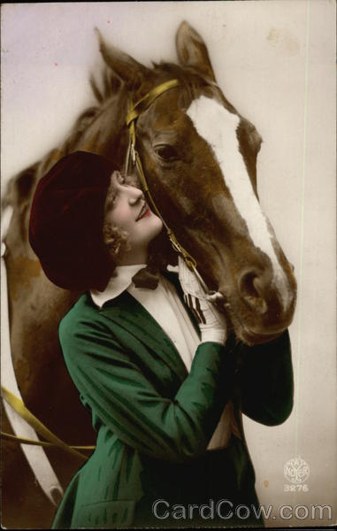 Woman in Green Hugging Chestnut Horse Horses Art Deco