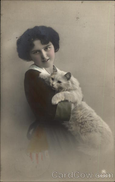 Young Woman with Cat Cats