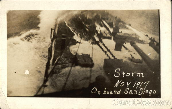 Storm on board San Diego - November 1917 Boats, Ships