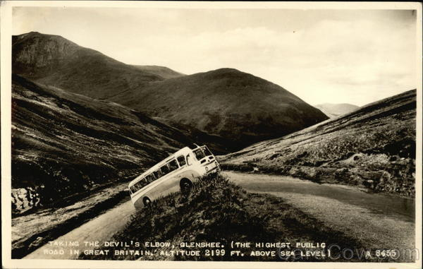 Bus Taking the Devil's Elbow Curve in Road Glenshee Great Britain