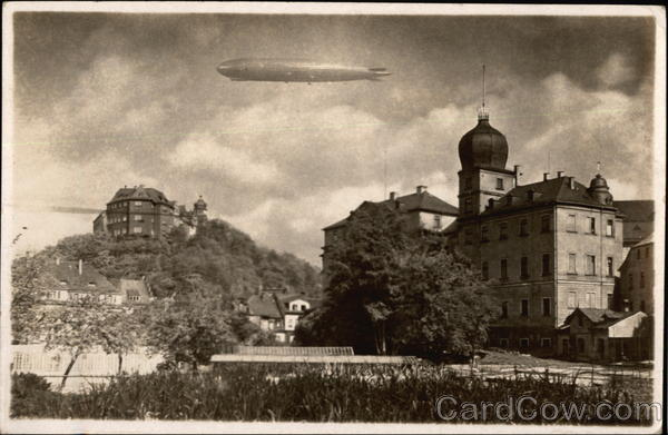 Zeppelin Flying over Town Greiz Germany