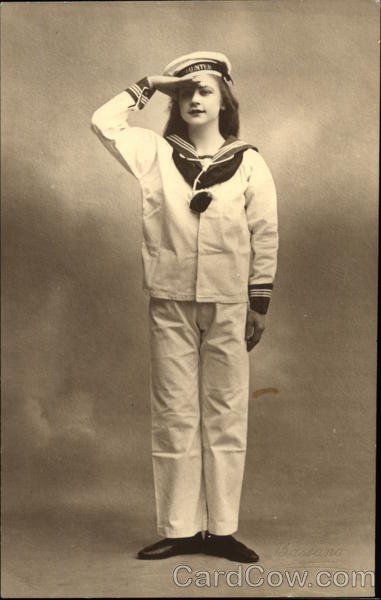 Portrait of Young Girl in Sailor Uniform Girls