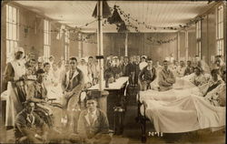 Doctors, Nurses & Patients in a Crowded Hospital Ward Postcard