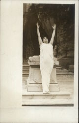 Person in a Toga Stretching Arms toward the Sky