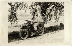 Man Riding 1920's Diamant Motorcycle