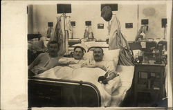 Three Male Patients in a Hospital Ward Postcard
